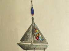 Iron Sailboat Chime with Colorful Beads