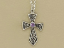 Amethyst Sterling Cross