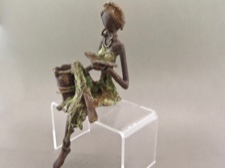Lost Wax Bronze Cast Woman Reading with Bucket
