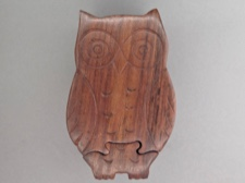 Handcarved Rosewood Puzzle Box - Owl