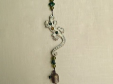 Iron Gecko Chime with Glass Beads from India