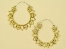 Brass Lotus Sun Hoops