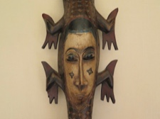 Guro Handpainted Crocodile Mask from Ivory Coast
