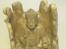 Antique Hibiscus Wood Carving of Teaching Buddha