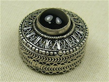 Sterling Silver Filigree Box with Onyx Stone