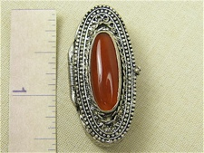 Filigree Box - Ornate Sterling with Carnelian Stone