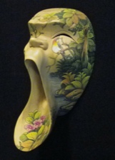 Handpainted Whimsical Hibiscus Wood Mask