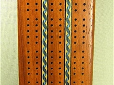 Wood Inlaid Cribbage Board African Paduak