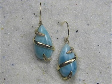 Larimar Gold Earrings
