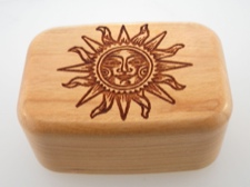 Secret Box - Sun Face - American Cherry Wood