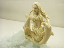 Fossil Ivory Mermaid on Natural Crystal Cluster