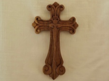 Handcarved Celtic Cross in Fleur de Lis Motif