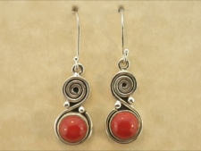Coral Earring with Spiral