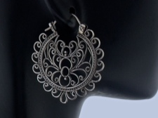 Sterling Ornate Filigree Hoop