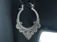 Ornate Sterling Hoops