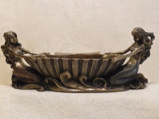 Cold Cast Bronze Double Mermaids and Shell Bowl