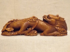 Handcarved Boxwood Resting Dragon from China