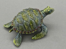 Enamel Box - Sea Turtle with Austrian Crystals