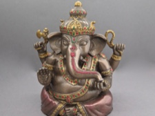 Handpainted Cold Cast Bronze Ganesha Figurine