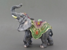 Enamel Box - Elephant with Austrian Crystals