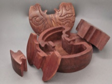 Handcarved Rosewood Puzzle Box - Octopus