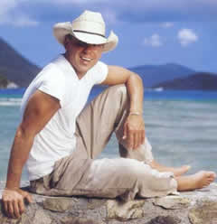 Kenny Chesney on Annanberg Beach on St. John U.S. Virgin Islands wearing his St. John Hook Bracelet