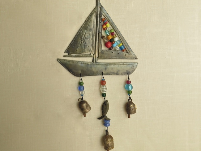 Iron Sailboat Chime with Colorful Beads - Click Image to Close