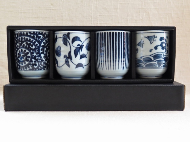 4 Piece Teacup Set Traditional Japanese - Click Image to Close