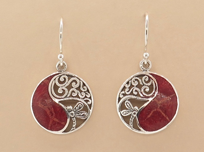 Ornate Coral Earrings - Click Image to Close