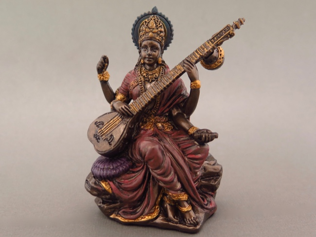 Miniature Saraswati Goddess of Music and Art - Click Image to Close
