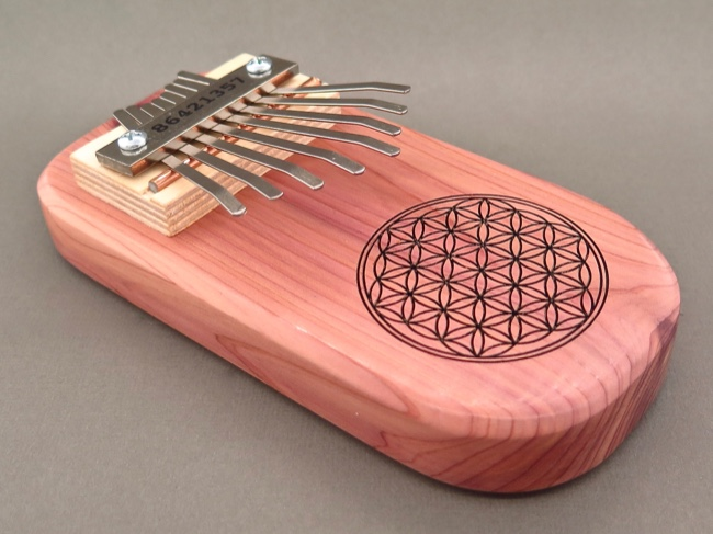 Handcrafted Cedar Board Kalimba Flower of Life - Click Image to Close