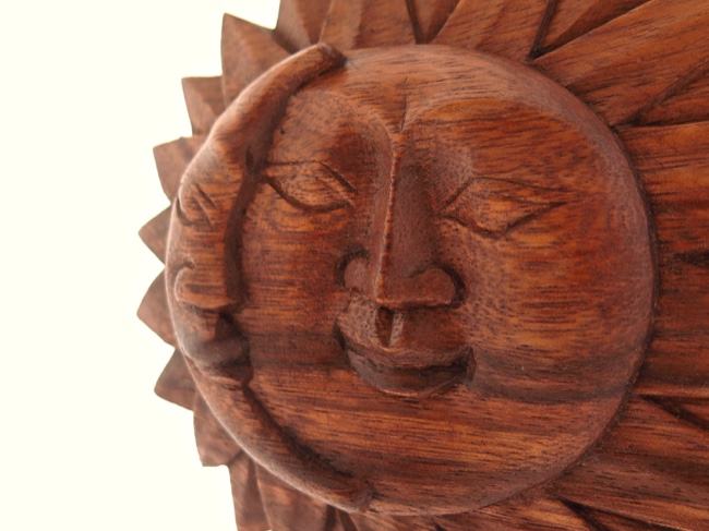 Whimsical Sun Moon Plaque Raintree Wood - Click Image to Close