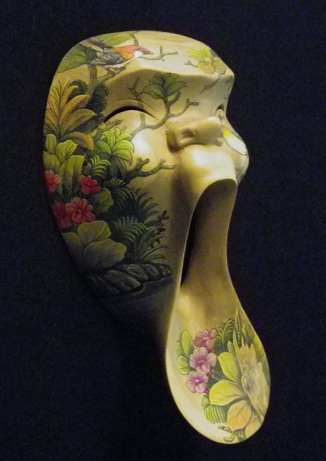 Handpainted Whimsical Hibiscus Wood Mask - Click Image to Close