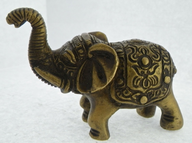 Ornately Detailed Brass Indian Elephant - Click Image to Close