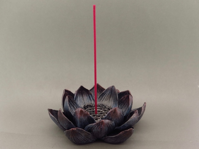 Lotus Bronzeplated Incense and Candle Holder - Click Image to Close