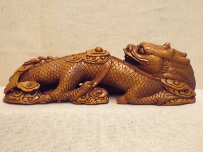 Handcarved Boxwood Resting Dragon from China - Click Image to Close