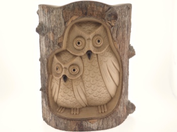Owl Pair Handcarved in Ceylon Satinwood from Bali
