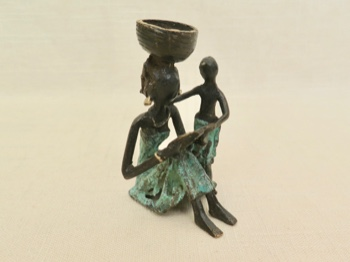 Lost Wax Bronze Cast Woman and Child with Book