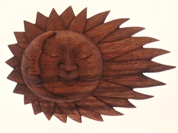 Whimsical Sun Moon Plaque Raintree Wood