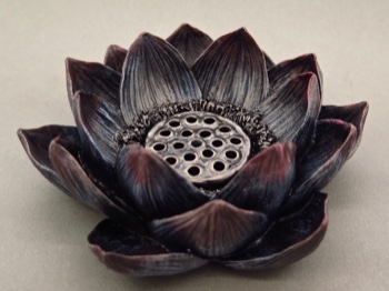 Lotus Bronzeplated Incense and Candle Holder